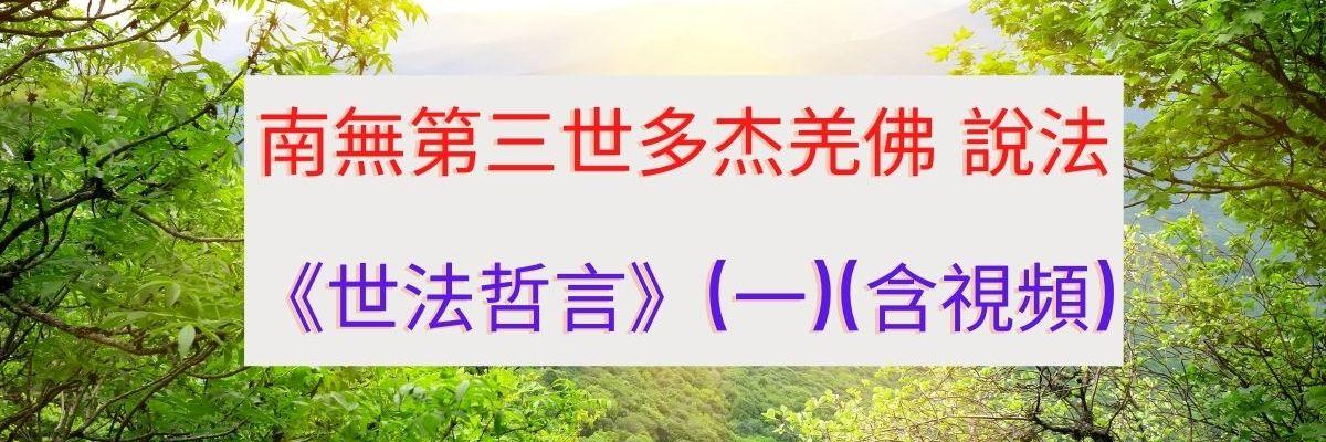 南無 第三世多杰羌佛 說法《世法哲言》(一)(含視頻)