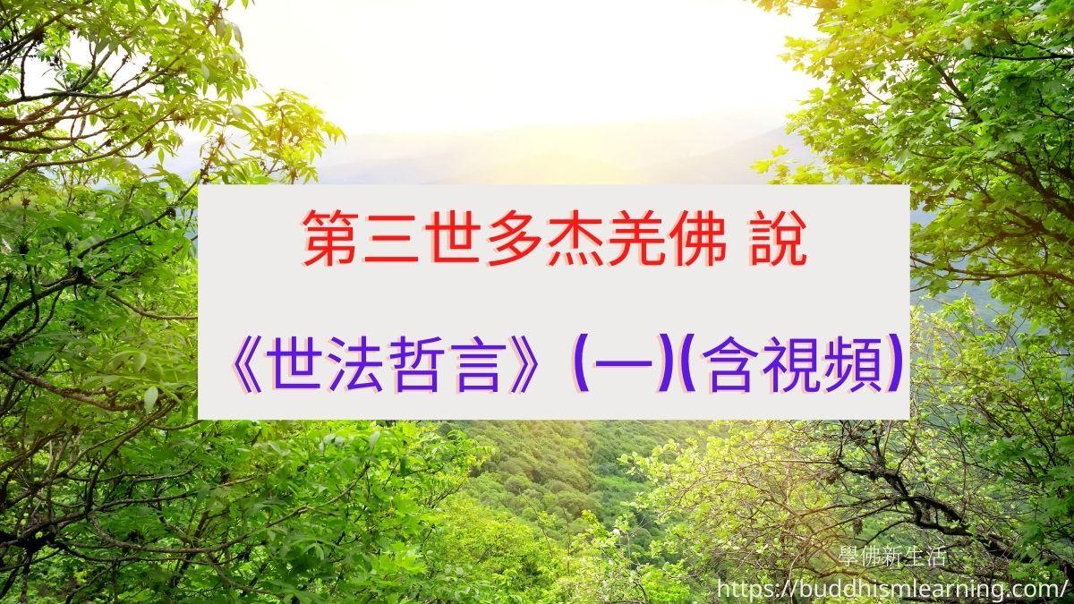 第三世多杰羌佛 說《世法哲言》